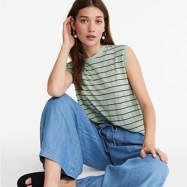 Striped Softserve Linen Muscle Tee