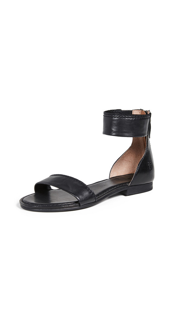 Frye Carson Ankle Zip Sandals in black