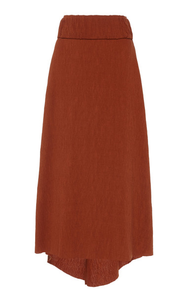 Johanna Ortiz Industrial Vibe Ruched Midi Skirt Size: 2 in brown