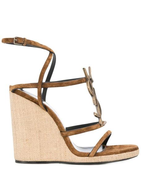 Saint Laurent Cassandra 105 sandals in brown