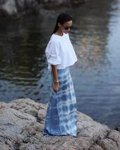 dress,maxi dress,white blouse,cropped