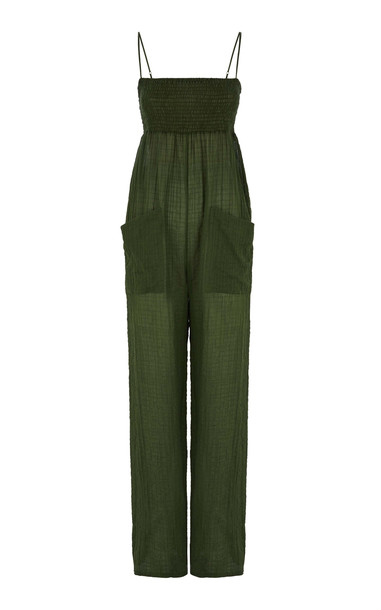 Three Graces London Tallie Smocked Cotton Jumpsuit in green
