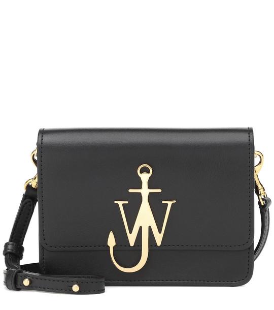 JW Anderson Logo leather shoulder bag in black