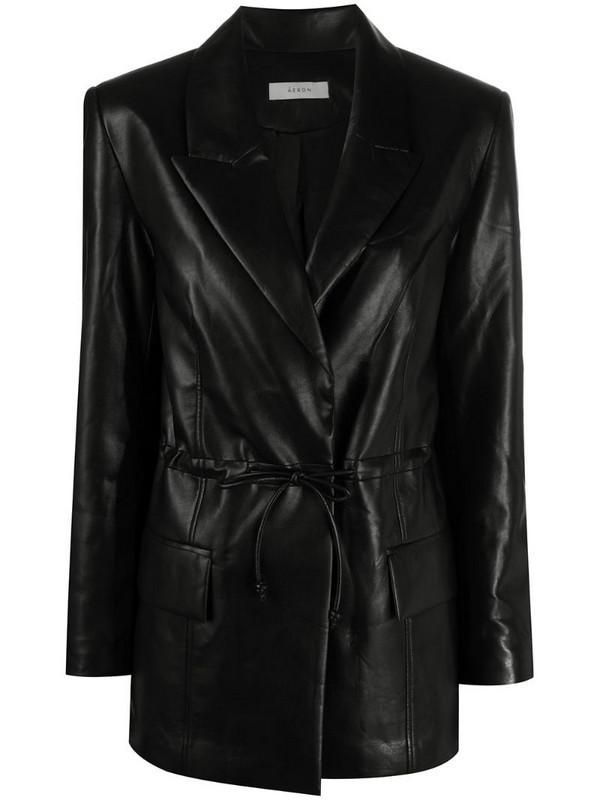 Aeron ruched single-breasted blazer in black