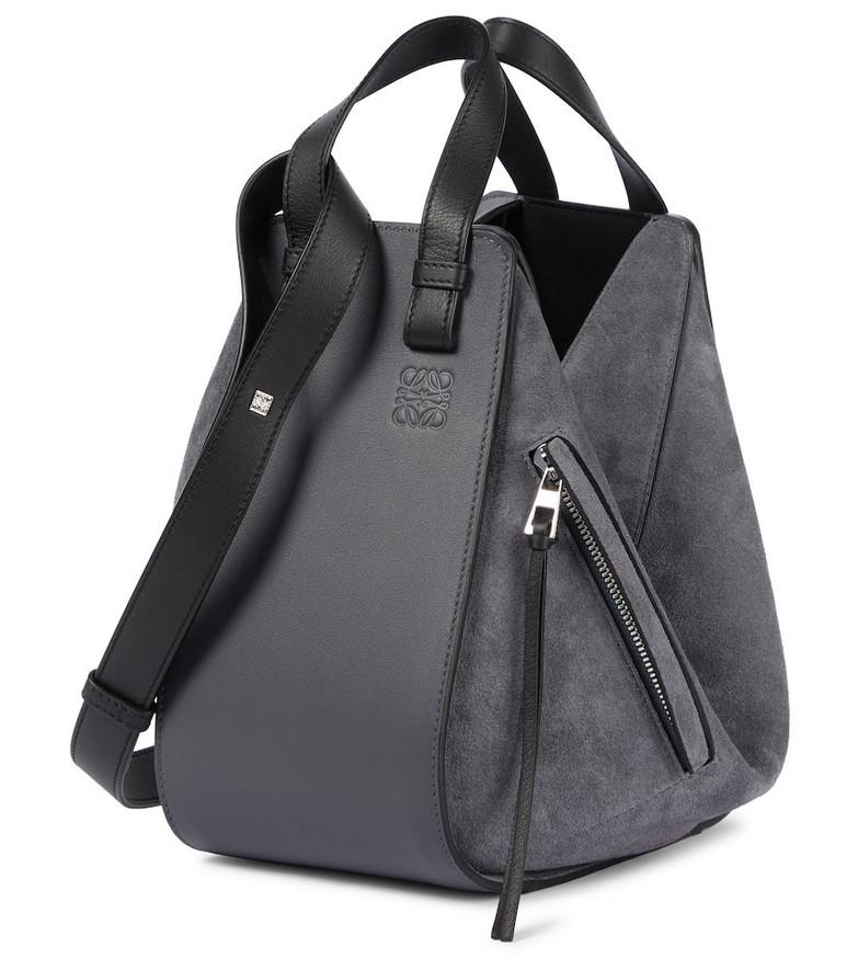 LOEWE Hammock Small suede and leather shoulder bag in grey