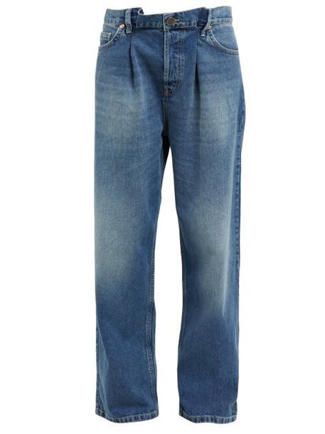 Raey - Fold Dad Baggy Boyfriend Jeans - Womens - Dark Blue