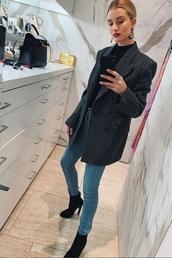 jacket,grey,blazer,rosie huntington-whiteley,model off-duty,instagram,fall outfits