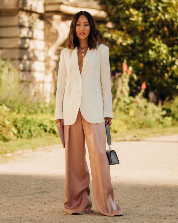 jacket white blazer song of style wide-leg pants high waisted pants bag