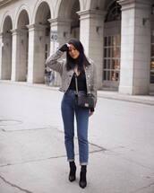 jacket,black boots,heel boots,denim,jeans,black top,crossbody bag,chanel bag