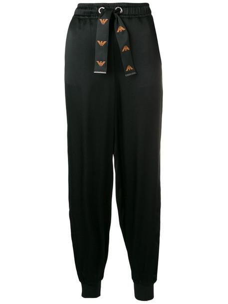 Emporio Armani drawstring waist trousers in black