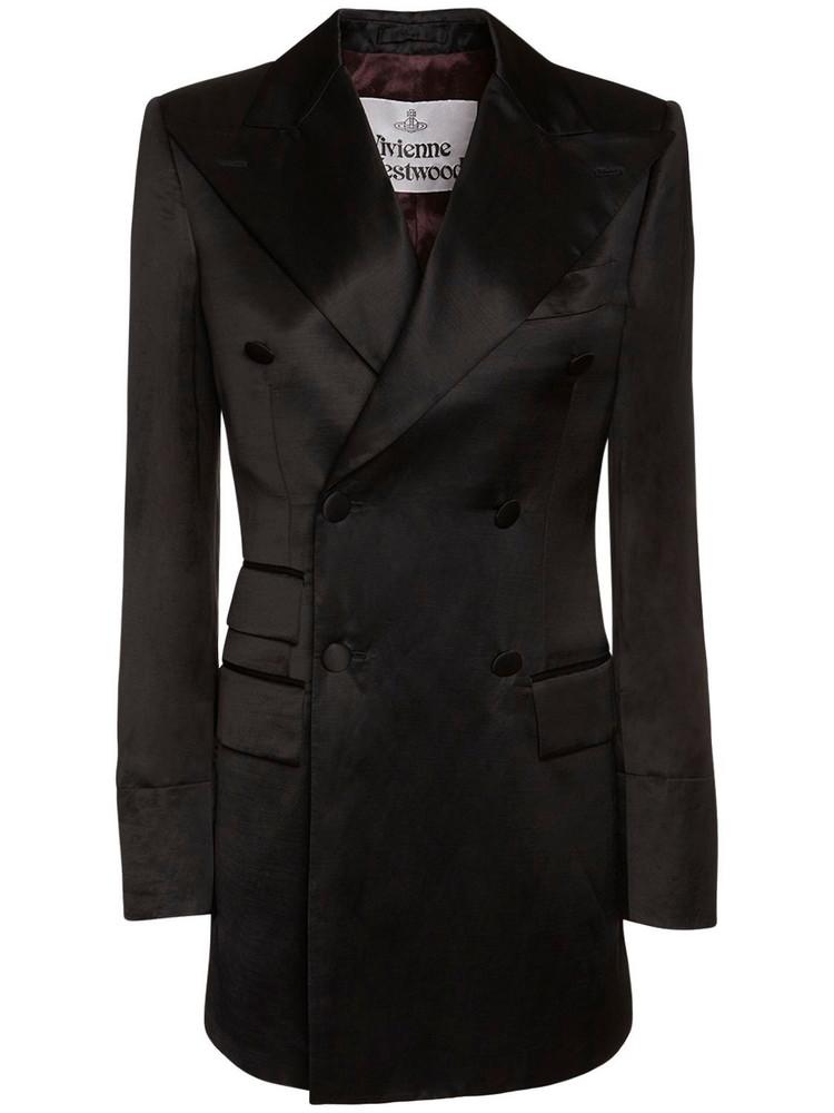 VIVIENNE WESTWOOD Satin Double Breast Jacket Dress in black