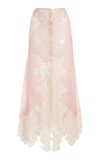 Paco Rabanne Leavers Lace Midi Skirt in pink