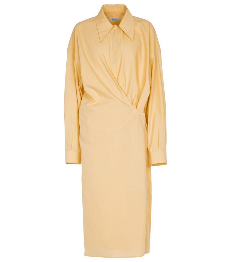 Lemaire Gathered cotton shirt dress in yellow