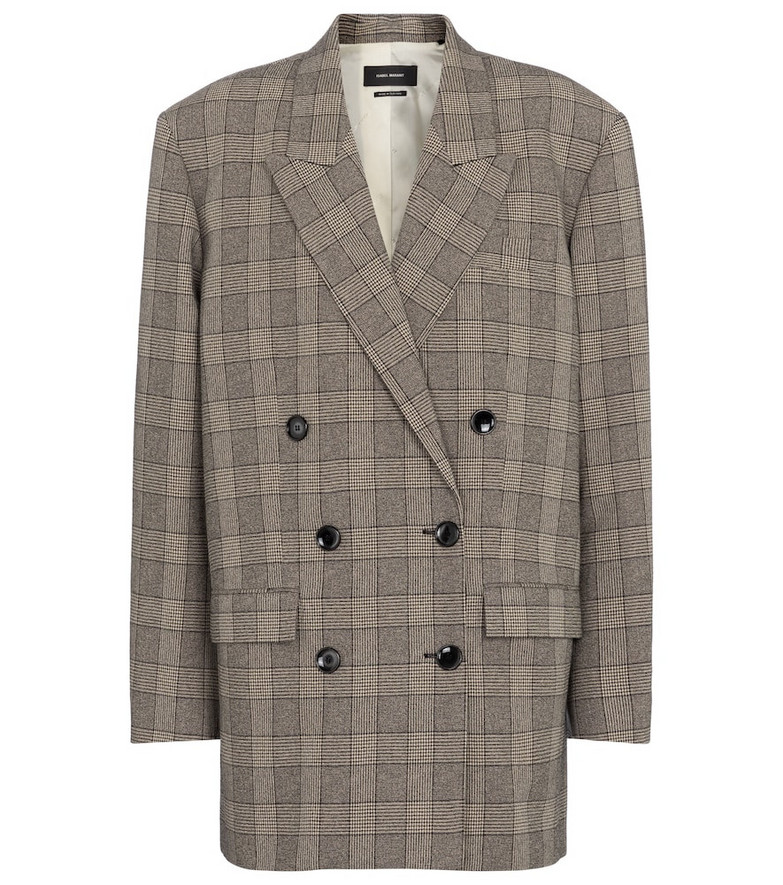 Isabel Marant Oladim checked blazer in grey