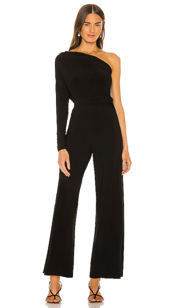 Norma Kamali Tie Front All In One Strapless Jumpsuit in Black