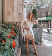 skirt,white skirt,high waisted skirt,slide shoes,white shirt,long sleeves,bag