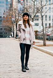 to be bright,blogger,jacket,sweater,leggings,shoes,hat,winter outfits,shearling jacket