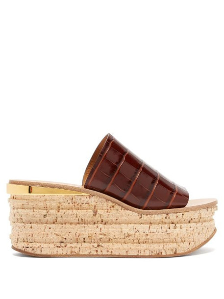 Chloé Chloé - Camille Crocodile Effect Leather Flatform Sandals - Womens - Tan