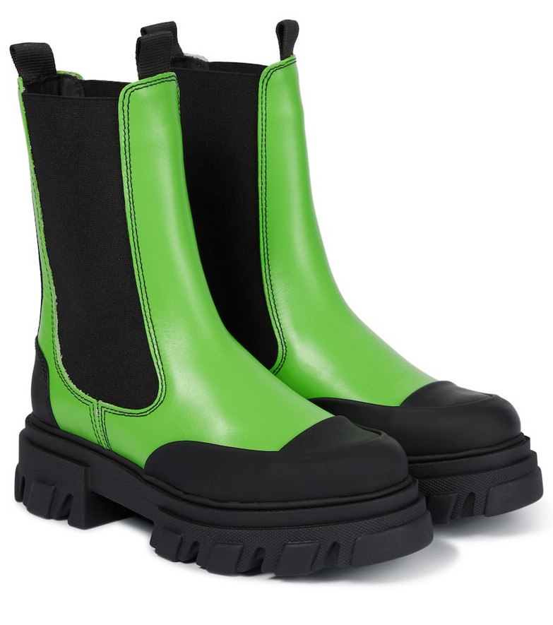 GANNI Leather Chelsea boots in green