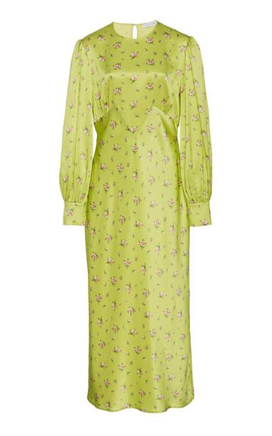 Olivia von Halle Aureta Silk Prairie Dress Size: XS in green