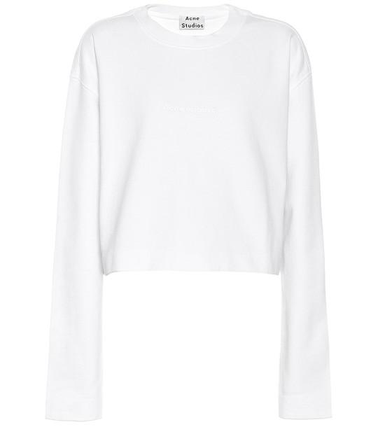 Acne Studios Logo-embossed cotton sweatshirt in white