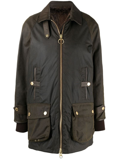 Barbour layered parka in brown