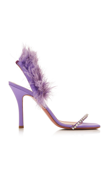 Amina Muaddi Adwoa Feather And Crystal-Embellished Satin Sandals in purple
