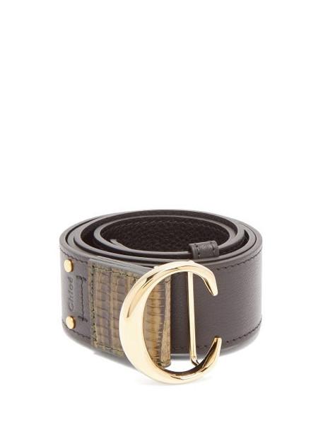 Chloé Chloé - Monogram Buckle Leather Belt - Womens - Black