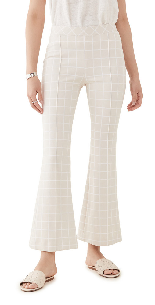 Rosetta Getty Pull On Cropped Flare Trousers in white / beige