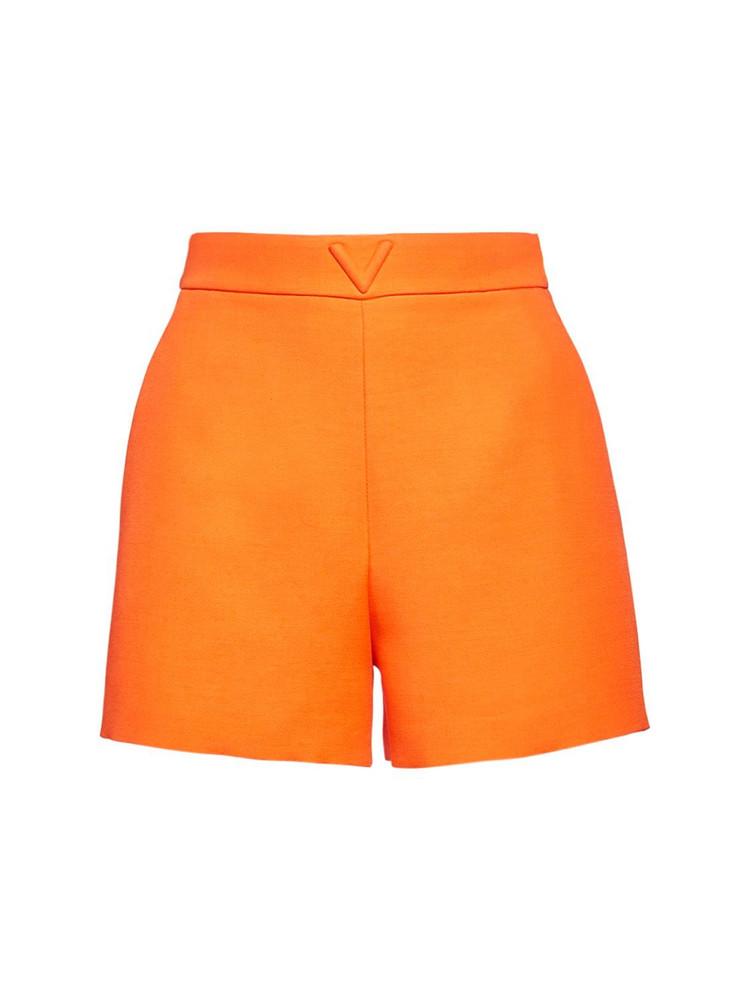VALENTINO V Logo Wool & Silk Couture Shorts in orange