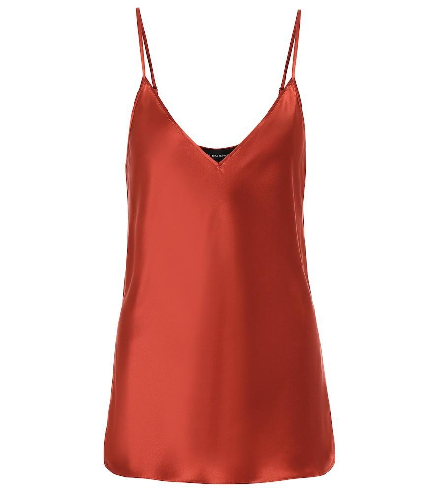 Lee Mathews Stella silk-satin top in red