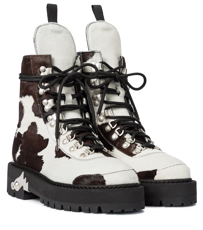 Off-White Calf hair lace-up boots in brown