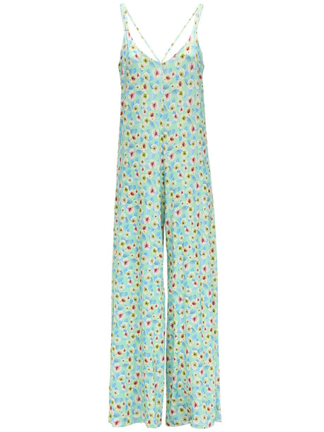 C'EST LA V Pressure Drop Stretch Jersey Jumpsuit in blue / multi