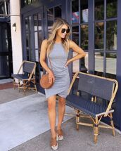 dress,mini dress,grey dress,wrap dress,sleeveless dress,platform sandals,brown bag,round bag