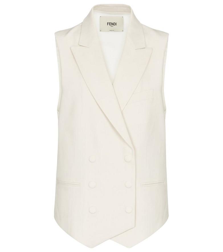 Fendi Double-breasted linen vest in white
