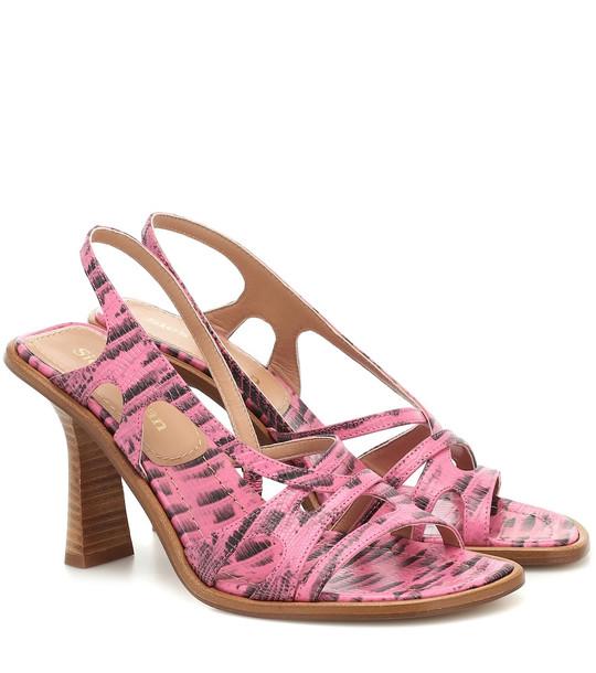 Sies Marjan Maya lizard-effect leather sandals in pink