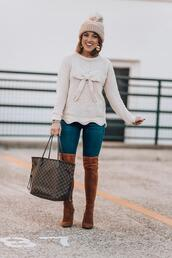 something delightful,sweater,jeans,hat,jewels,shoes,winter outfits,over the knee boots,brown boots,louis vuitton bag,beanie,blogger