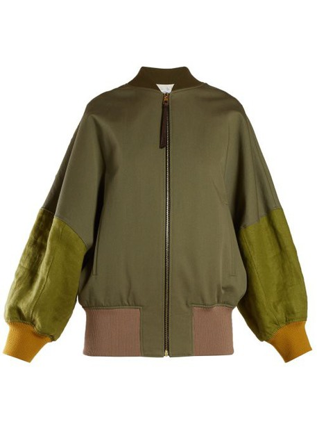 Loewe - Balloon Sleeved Contrast Cotton Bomber Jacket - Womens - Khaki