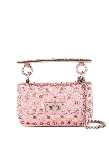 Valentino Garavani Spike glitter shoulder bag in pink