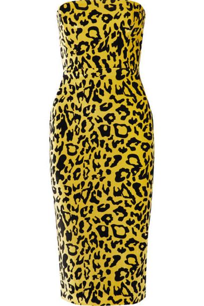 Alex Perry - Nolan Strapless Leopard-print Velvet Midi Dress - Yellow
