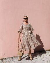 dress,midi dress,shoes,shoulder bag,earrings,sunglasses