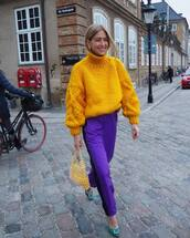 sweater,yellow sweater,turtleneck sweater,cable knit,pants,yellow bag,pumps