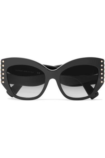 Valentino - Valentino Garavani Cat-eye Crystal-embellished Acetate Sunglasses - Black