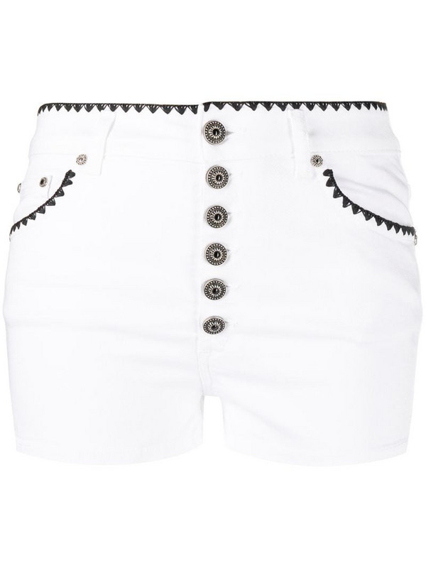 Dondup embroidered trim denim shorts in white