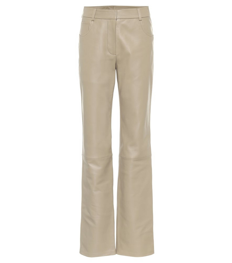 Common Leisure High-rise straight leather pants in beige