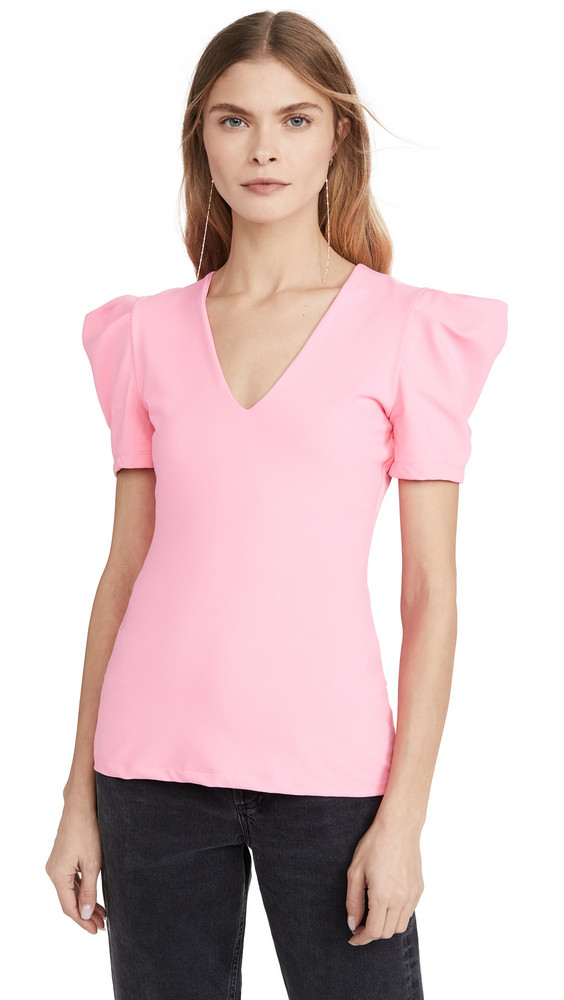 Susana Monaco Pleated Sleeve Deep V Top in pink