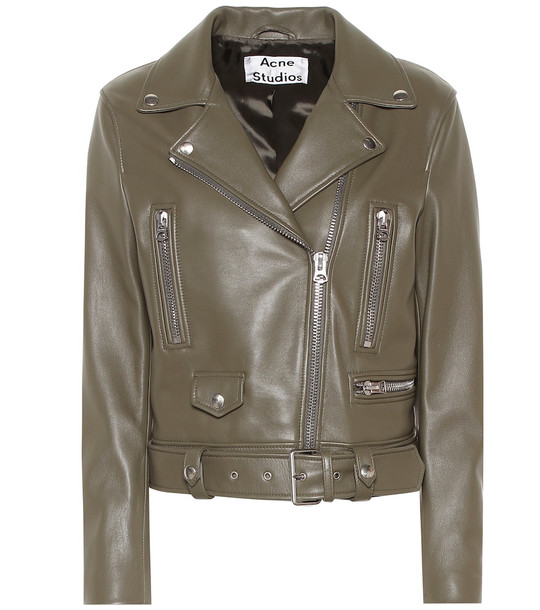 Acne Studios Mock leather jacket in green