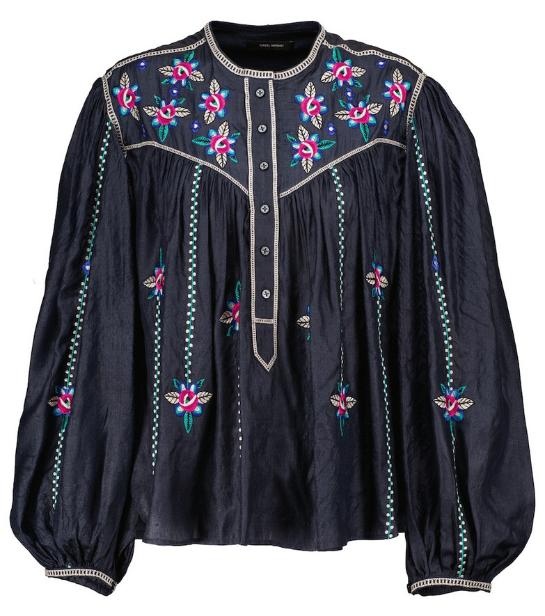 Isabel Marant Caitlyn floral-embroidered silk blouse in black