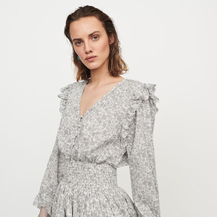 ROSEAU Short floral-print ruffled dress