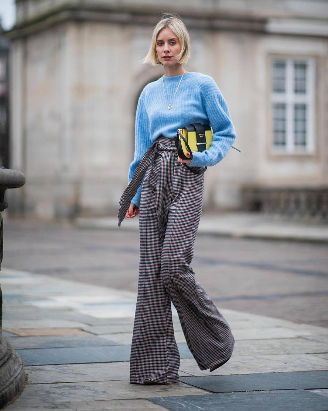 pants wide-leg pants grey pants plaid high waisted pants blue sweater prada bag